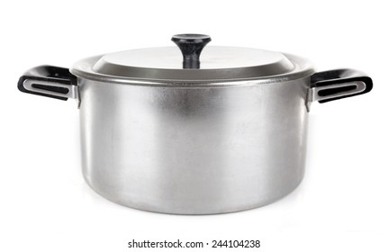 Stainless saucepan isolated on white background