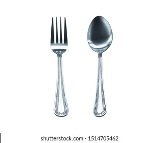 stainless spoon and fork vertical alignment isolated on white background.