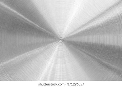 Stainless steel aluminum circular brushed metal texture background circle shape silver color photo object design
