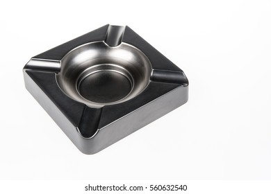 Stainless steel ashtray isolated on white background