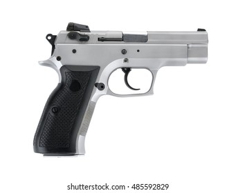 Stainless steel automatic 9 m.m handgun pistol isolated on white
