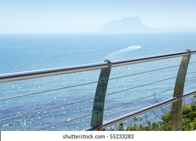 stainless steel balcony banister to mediterranean sea in moraira alicante spain