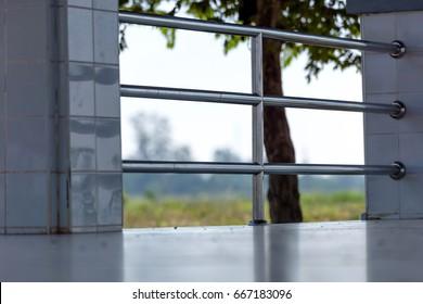 Stainless steel banister.