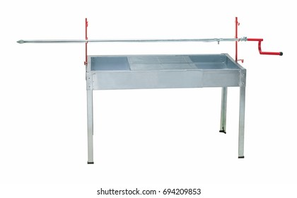 Stainless steel barbeque appliance with long skewer,clipping path