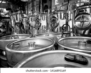 stainless steel beer brewing equipment kegs and tanks and piping