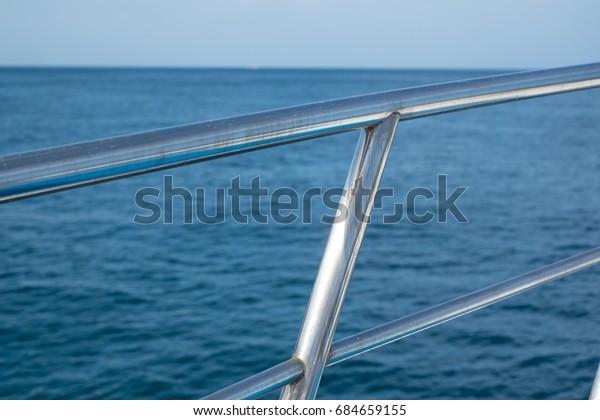 Stainless Steel Boat Railing Blue Ocean Transportation