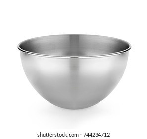 Stainless steel bowl. Isolated on white background