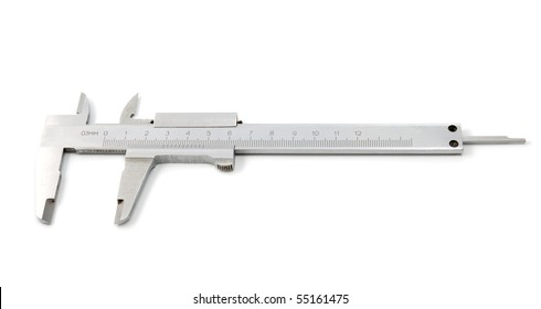 Stainless steel caliper on a white background. The precision tool.