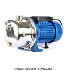 Stainless Steel Centrifugal Pump on White Background
