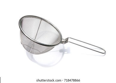 Stainless steel colander with handle isolated on white background.