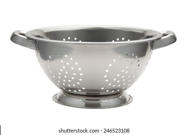 Stainless Steel Colander isolated on white with a clipping path. The image is in full focus, front to back.