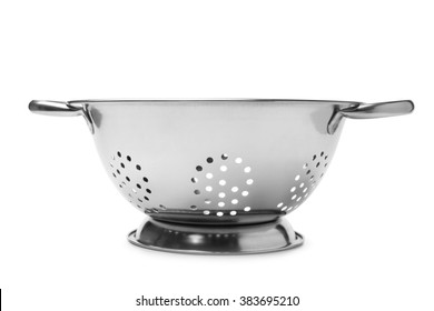Stainless steel colander on white background