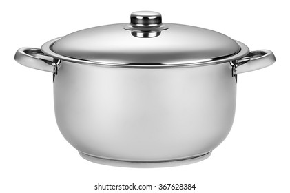 Stainless steel cooking pot isolated on white
