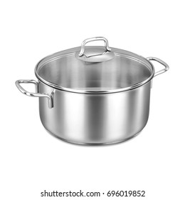 Stainless Steel Cooking Pot Isolated on White Background. Stockpot With Glass Lid. Cooking Pan. Cookware. Home and Kitchen. Clipping Path