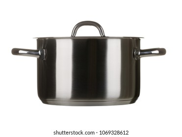 Stainless steel cooking pot with lid isolated on white background