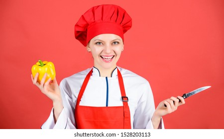 Stainless steel. Dangerous lady. Be careful while cut. Chef cut vegetables. Woman chef hold sharp knife. Ways to chop food like pro. Knife skills concept. Choose proper knife. Best knives to buy.