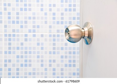 Stainless Steel  Door Knob with light blue Ceramic Wall