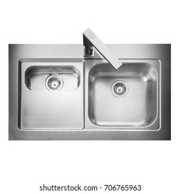 Stainless Steel Double Bowl Inset Kitchen Sink Top View with Tap Isolated on White Background. Built-In Kitchen and Domestic Appliances
