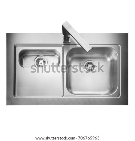 Stainless Steel Double Bowl Inset Kitchen Stock Photo (Edit Now ...