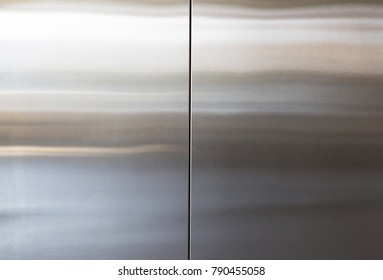 stainless steel elevator door background and texture, silver metal wall panel