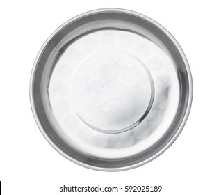 Stainless steel empty plate, Top view.