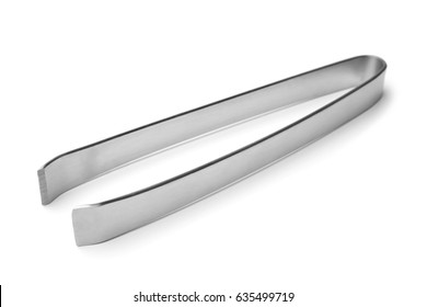 Stainless steel fish bone remover tongs on white background