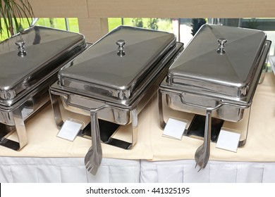 Stainless Steel Food Warmer at Buffet Table