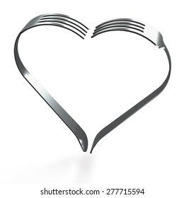 Stainless steel forks heart shape on light wood background,  clipping path