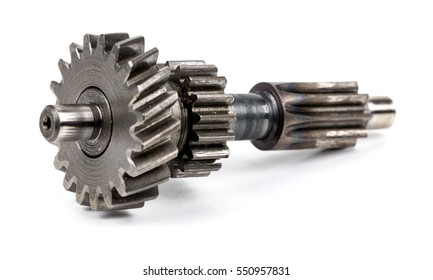 stainless steel gears isolated over white background