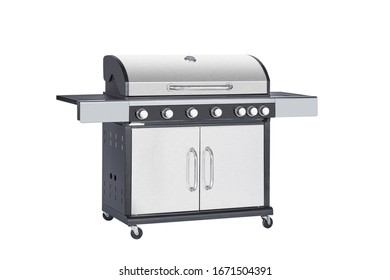 A stainless steel grill on white background