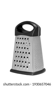 Stainless steel metal food grater. Isolated on white background