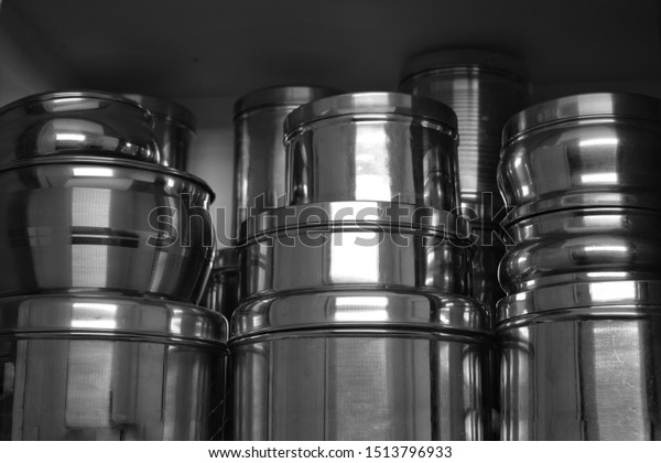 Stainless Steel Metal Lunch Boxes Stack Stock Photo Edit Now
