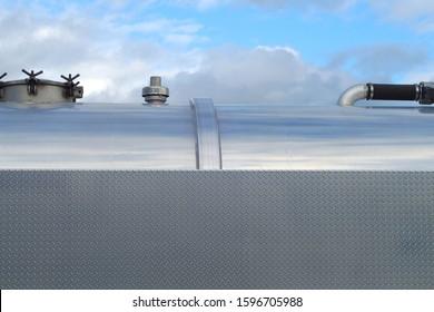 stainless steel metal tank diamond background blue sky