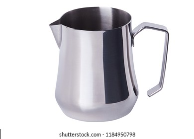 Stainless Steel Milk Pitcher/Jug. Foaming Jug. Latte art for barista. Coffee Accessories. Barista Kit. Isolated on white background.