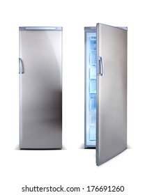 Stainless steel open clean freezer isolated on white.