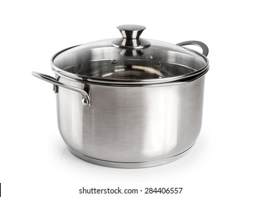 Stainless steel pan isolated on white background