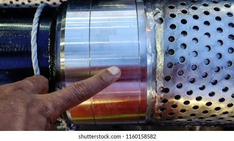 Stainless steel pipe screen view on surface before run into oil production wellbore