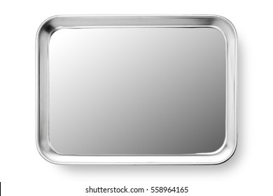 Stainless steel plate isolated on white background, Close-up.