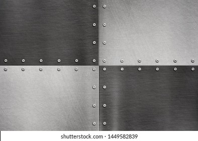 Stainless steel plate, riveted metal background