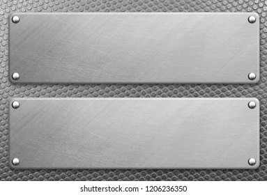 Stainless steel plate with rivets on metal background