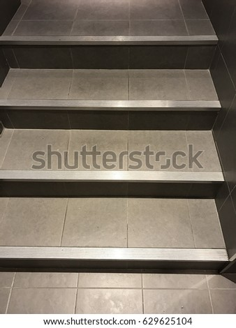 Stainless Steel Plates Are Attached To The Stairs. To Prevent Slipping  While Wet Stairs.