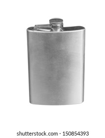 Stainless steel pocket hip flask isolated on white background