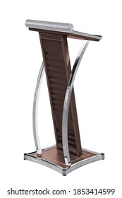 Stainless steel Podium Tribune Rostrum Stand with leather cushion Isolated on White Background, Work with clipping path.