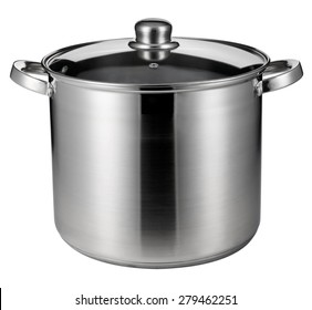 Stainless steel pot isolated on white with clipping path