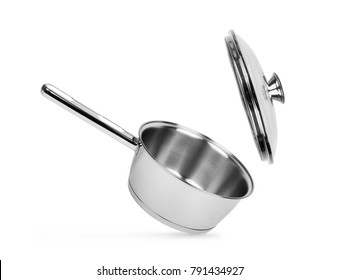 Stainless steel pot. Isolated on white background