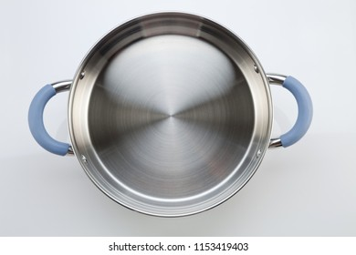 stainless steel pot on the white background