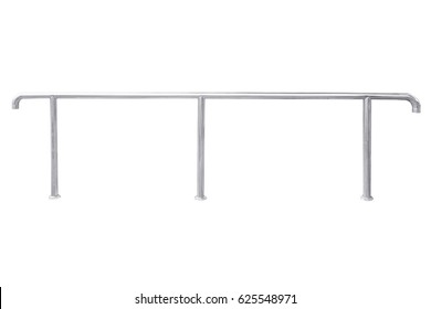 Stainless steel railing isolated on white degree tilt, with clipping path.