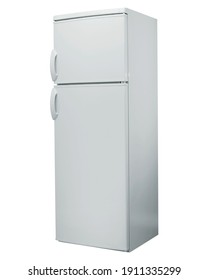 Stainless steel refrigerator isolated on white. Studio shoot.