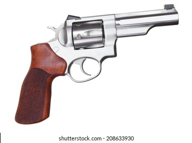 Stainless steel revolver with wood grips isolated on white