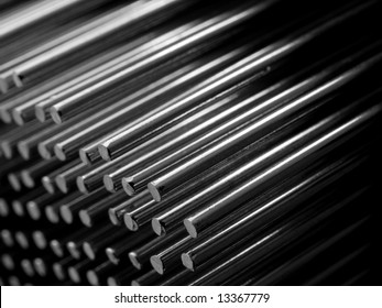 Stainless steel rods in rows